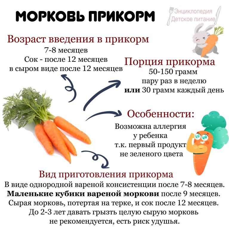С какого возраста можно давать грудничку морковный сок