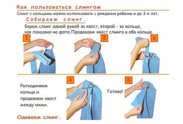 Как носить, одевать и сшить слинг с кольцами своими руками