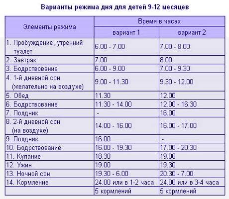Режим дня ребенка в 1 год: таблица распорядка дня и питания годовалого малыша