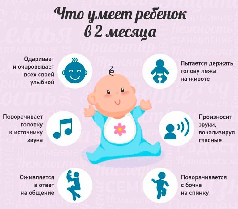Что умеет и должен уметь ребенок в 2 месяца
