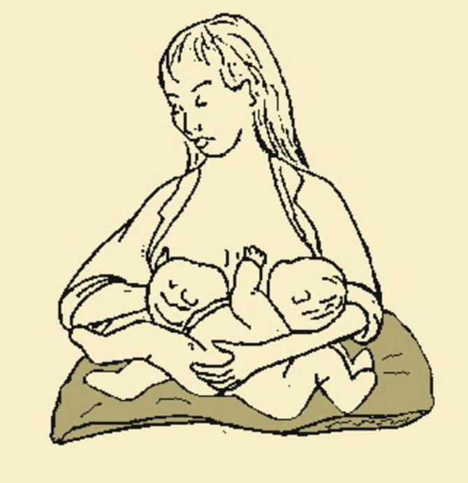 Как кормить грудью близнецов?