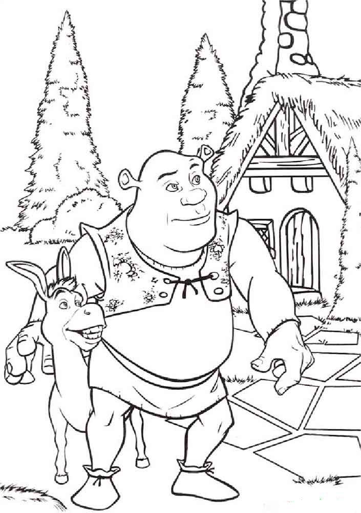 Раскраска шрек и фиона | раскраски из мультфильма шрек 2 (shrek 2)