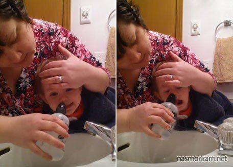 Проведение процедуры промывания носа грудничку при помощи физраствора: показания и противопоказания