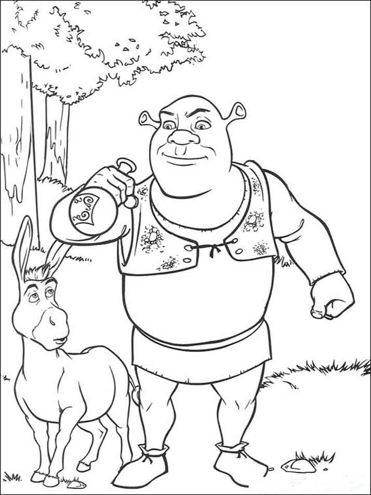 Раскраски из мультфильма шрек ,скачать бесплатно раскраски шрек.