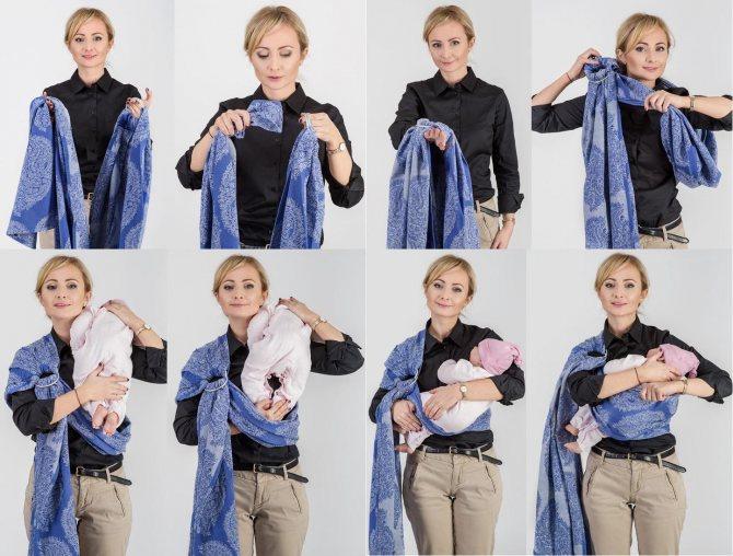 Как завязать слинг-шарф для новорожденного: фото инструкции