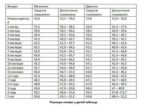 Какой размер головы у детей ~ детская городская поликлиника №1 г. магнитогорска